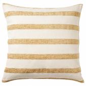 КНИППАРВ Подушка, неокрашенный золотисто-желтый, в полоску, 50x50 см