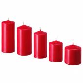 ФЕНОМЕН Неароматическая формовая свеча, 5шт, красный