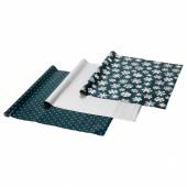 ВИНТЕР 2020 Рулон оберточной бумаги, орнамент «снежинки», орнамент «звезды» синий/серебристый, 3x0.7 м/2.10 м²x3 шт