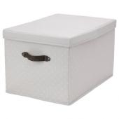 БЛЭДДРАРЕ Коробка с крышкой, серый, с рисунком, 35x50x30 см