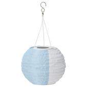 СОЛВИДЕН Подвесная светодиодная лампа, белый синий, для сада шаровидный, 22 см