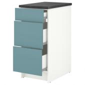 КНОКСХУЛЬТ Напольный шкаф с ящиками, глянцевый, синяя бирюза, 40 см