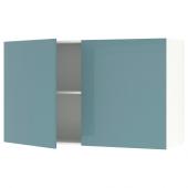 КНОКСХУЛЬТ Навесной шкаф с дверями, глянцевый, синяя бирюза, 120x75 см
