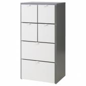 ВИСТХУС Комод с 6 ящиками, серый, белый, 63x126 см