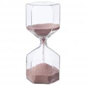 ТИЛЛСЮН Декоративные песочные часы, прозрачное стекло, светло-розовый, 16 см