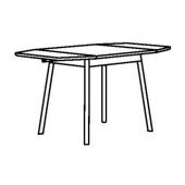 ИКЕА ПС 2012 Стол c откидными полами, бамбук, белый, 74/106/138x80 см