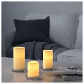 ГОДАФТОН Светодиодная формовая свеча, 3 шт., с батарейным питанием, естественный