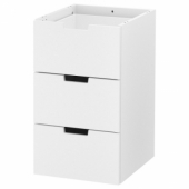 НОРДЛИ Модульный комод с 3 ящиками, белый 40x68 см
