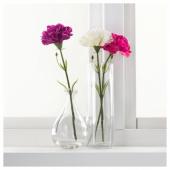 СМИККА Цветок искусственный, гвоздика, белый, 30 см