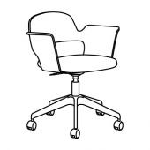 ФЬЕЛЛБЕРГЕТ Конференц-стул, ясеневый шпон/черная морилка, Гуннаред темно-серый