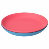 ХЭРОИСК Десертная тарелка, синий, светло-красный, 19 см