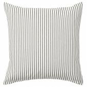ИНГАЛИЛЛ Чехол на подушку, белый, темно-серый в полоску, 50x50 см
