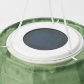 СОЛВИДЕН Подвесная светодиодная лампа, для сада, овал зеленый, 43 см