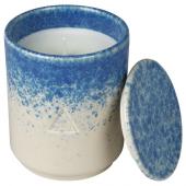 ОСИНЛИГ Ароматическая свеча в банке, Чайный лист и вербена белый, синий, 10 см
