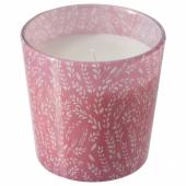 МЕДКЭМПЕ Ароматическая свеча в стакане, Летние поля, розовый, 7.5 см