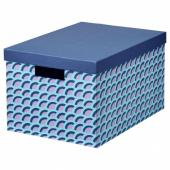 ТЬЕНА Коробка с крышкой, синий, разноцветный, 25x35x20 см
