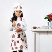 ВИНТЕР 2020 Фартук детский, орнамент «имбирное печенье» белый/коричневый, 4–7