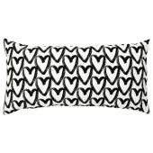 ЛИКТФИББЛА Подушка, белый, черный, 30x58 см