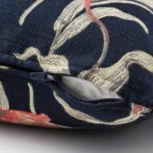 ОЛАНДСРОТ Подушка, темно-синий, с цветочным орнаментом, 50x50 см