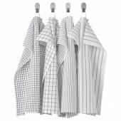 РИННИГ Полотенце кухонное, белый/темно-серый, с рисунком, 45x60 см