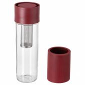 ЭФТРЕСТРЭВА Дорожная кружка, прозрачное стекло, силикон темно-красный, 0.5 л
