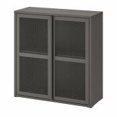ИВАР Шкаф с дверями, серый сетка, 80x83 см