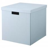 ТЬЕНА Коробка с крышкой, синий, 32x35x32 см