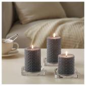 НЬЮТНИНГ Формовая свеча, ароматическая, 3 шт, Цветущий бергамот, серый
