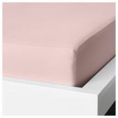 ДВАЛА Простыня натяжная, светло-розовый, 160x200 см