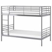 СВЭРТА Каркас 2-ярусной кровати, серебристый, 90x200 см