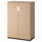 ГАЛАНТ Шкаф с дверями, дубовый шпон, беленый, 80x120 см