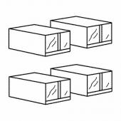СКУББ Коробка для обуви, белый, 22x34x16 см
