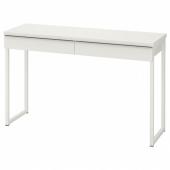 БЕСТО БУРС Письменный стол, глянцевый белый, 120x40 см