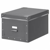 ФЬЕЛЛА Коробка с крышкой, темно-серый, 25x36x20 см