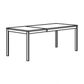 ВАНГСТА Раздвижной стол, черный, темно-коричневый, 120/180x75 см
