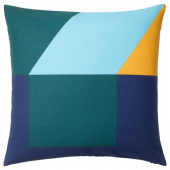 МАЙЯЛИЗА Чехол на подушку, синий, зеленый/желтый, 50x50 см