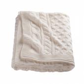ВИВИАННА Плед, вязаный, белый с оттенком, 120x180 см