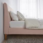ИДАНЭС Каркас кровати с обивкой, Гуннаред бледно-розовый, 180x200 см