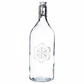 ВИНТЕР 2020 Бутылка с пробкой, прозрачное стекло, орнамент «снежинки» белый, 1 л