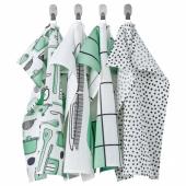 РИННИГ Полотенце кухонное, бел/зелен, с рисунком, 45x60 см