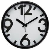 ЮККЕ Настенные часы, белый, черный, 23 см