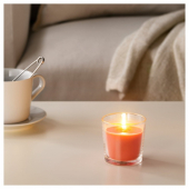 СИНЛИГ Ароматическая свеча в стакане, Персик и апельсин, оранжевый, 7.5 см