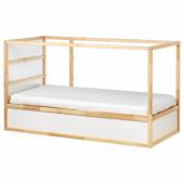 КЮРА Двусторонняя кровать, белый, сосна, 90x200 см