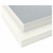 ЭКБАККЕН Столешница, двусторонняя, с белой окантовкой светло-серый светло-серый/белый, ламинат белый, 186x2.8 см