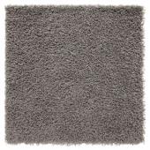 ХАМПЭН Ковер, длинный ворс, серый, 80x80 см