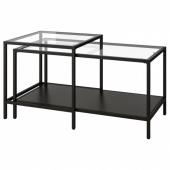 ВИТШЁ Комплект столов, 2 шт, черно-коричневый, стекло, 90x50 см