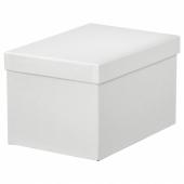 ТЬЕНА Коробка с крышкой, белый, 18x25x15 см