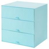ПАЛЬРА Мини-комод с 3 ящиками, голубой, 31x26x31 см