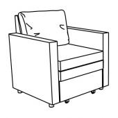 ВАТТВИКЕН Кресло-кровать, лерхага светло-серый