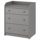 ХАУГА Комод с 3 ящиками, серый, 70x84 см
